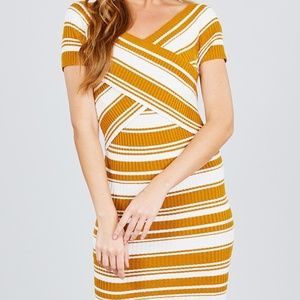 Cross Wrap Stripe Sweater Dress dark mustard